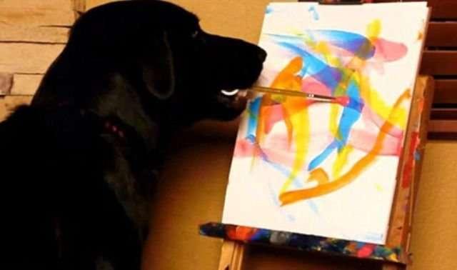 Пёс Арбор рисует картины для благотворительного фонда (8 фото)