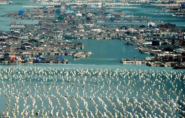 Невероятные плавающие города Китая (11 фото)