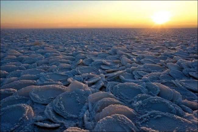 Лёд в виде блинов (3 фото)
