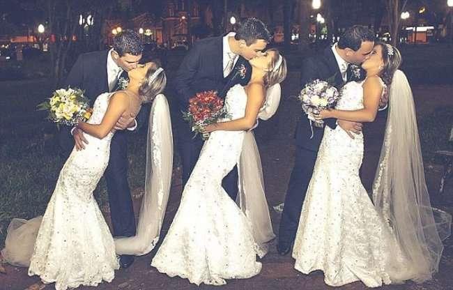 Свадьба сестер-тройняшек (6 фото)