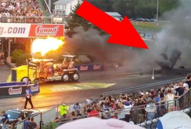Самый быстрый в мире грузовик расплавил асфальт