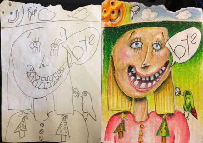 Дорисованные картины маленьких детей (11 фото)