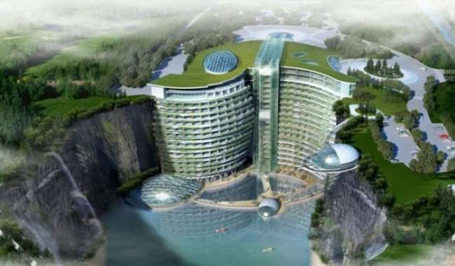 19-этажный отель в карьере Шанхая (8 фото)
