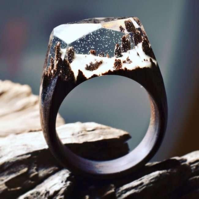 Миниатюрные пейзажи на деревянных кольцах (11 фото)