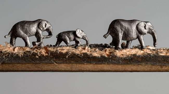 Синди Чинн вырезает слонов из карандашей (8 фото)
