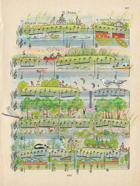 Серия работ на основе старых нотных партитур (10 фото)